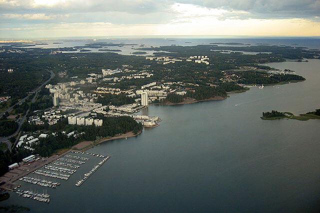 Vista aérea de la ciudad finlandesa de Espoo @wikimedia
