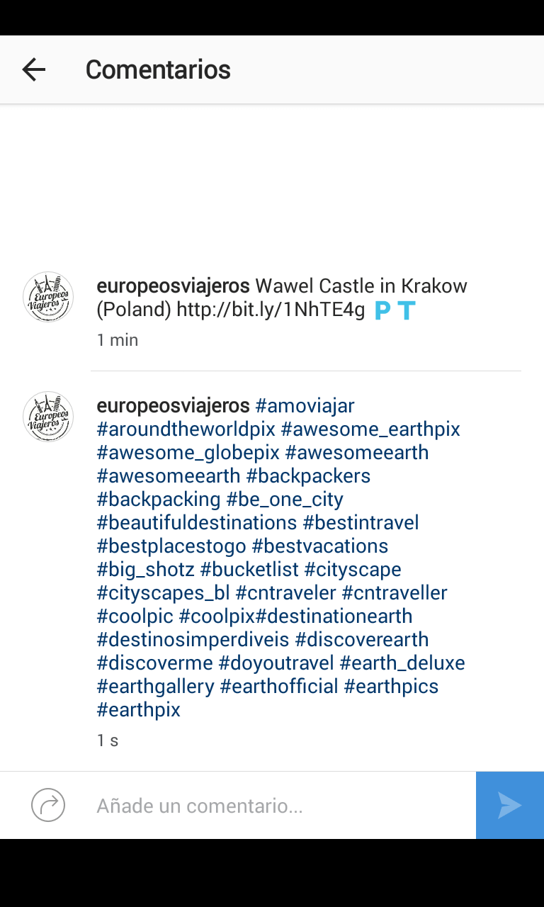En el comentario ponemos nuestros primeros 30 hashtags