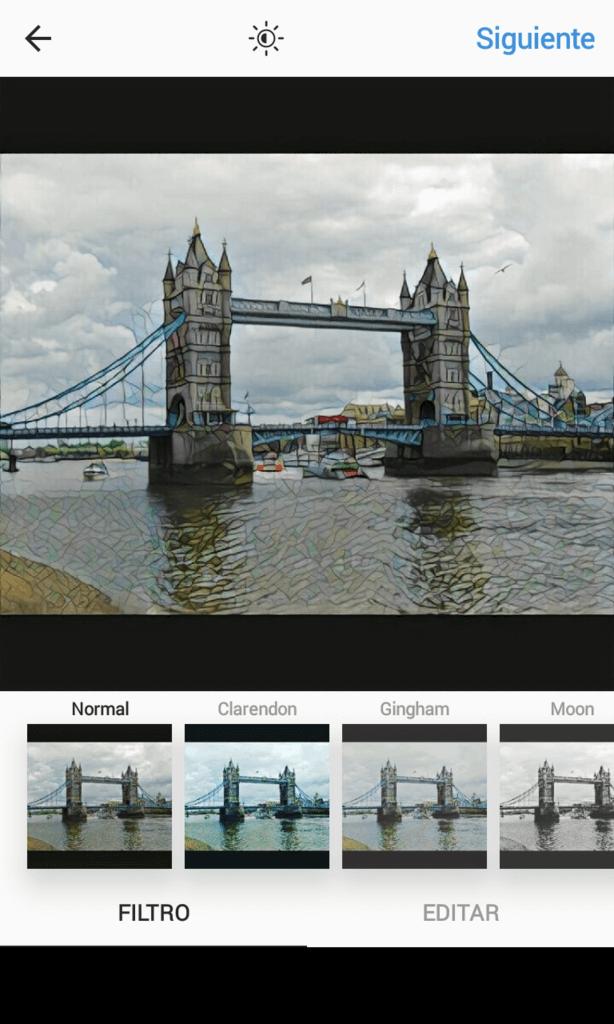 Para guardar la foto como borrador no sirve solamente con ponerle filtro