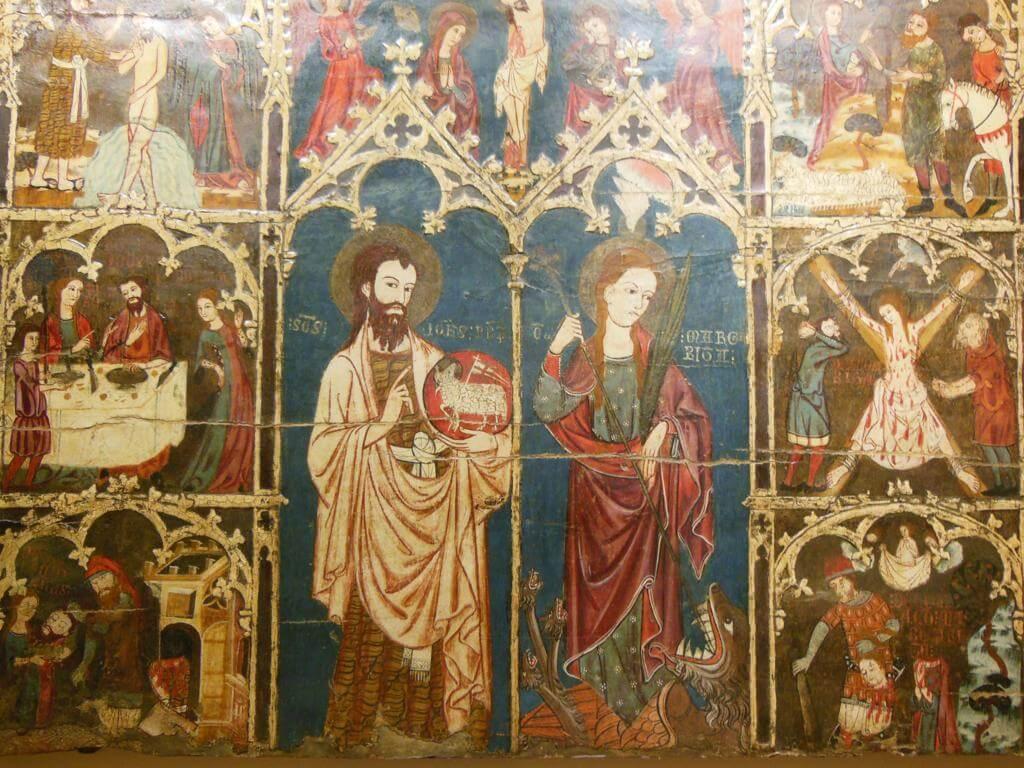 """Museo Diocesano: """"Retablo de San Juan Bautista y Santa Margarita de Antioquía"""""""