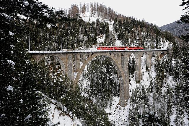 Viaducto de Wiesen en Davos (Suiza) @Wikimedia