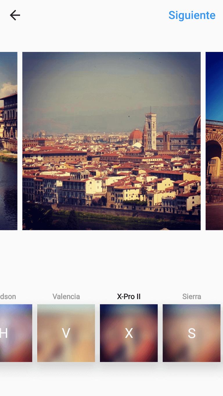 Podemos editar y/o aplicar filtros de forma individual al conjunto de imágenes/vídeos.