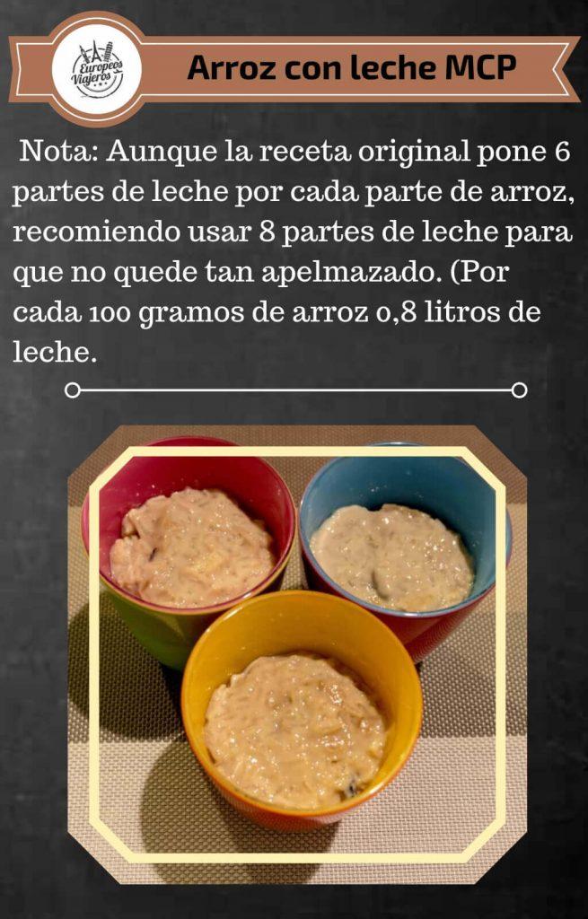 Receta de arroz con leche.