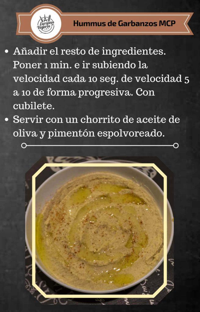 Receta del Hummus de Garbanzos.