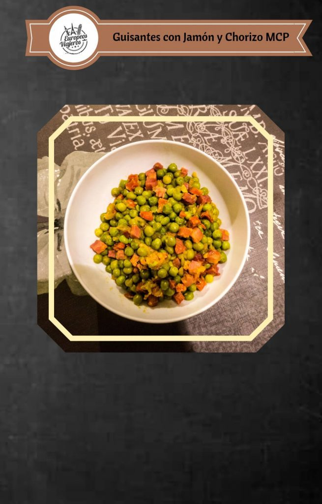 Receta de Guisantes con Jamón y Chorizo.