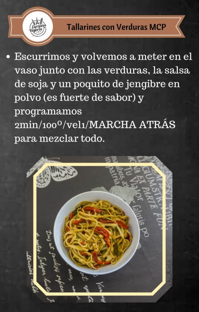 Receta de Tallarines con Verduras.