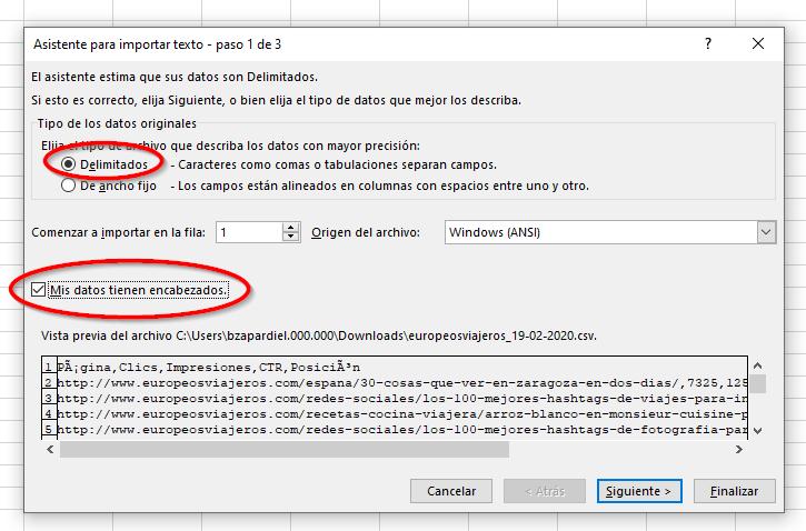 Delimitamos los datos del archivo CSV.