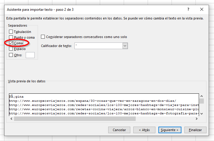 Determinamos el separador que usa el archivo CSV.