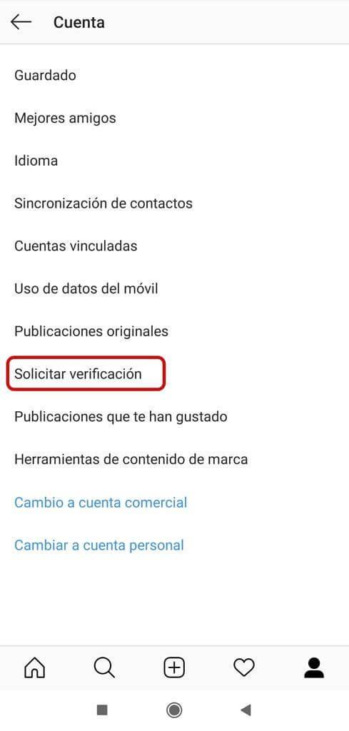 Navegamos hasta la opción de Solicitar verificación.