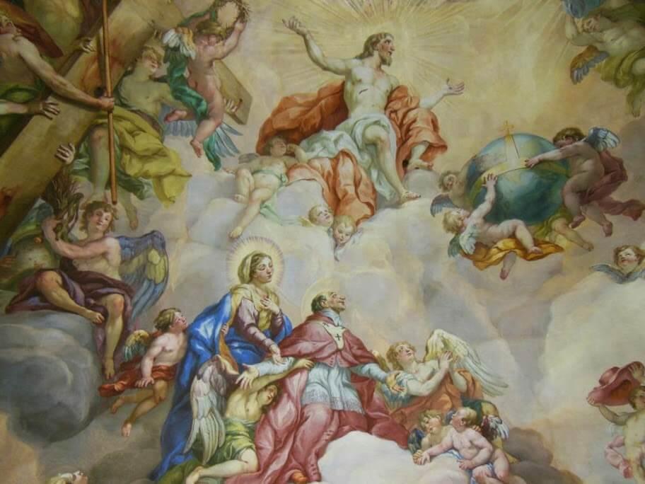"""Fresco """"apoteosis San Carlos Borromeo""""."""