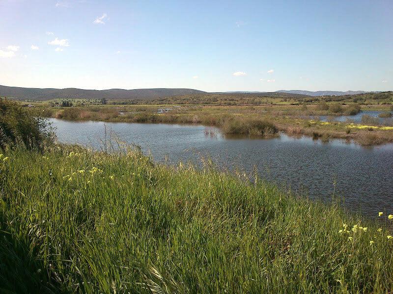 Embalse con agua del río Guadiana.
