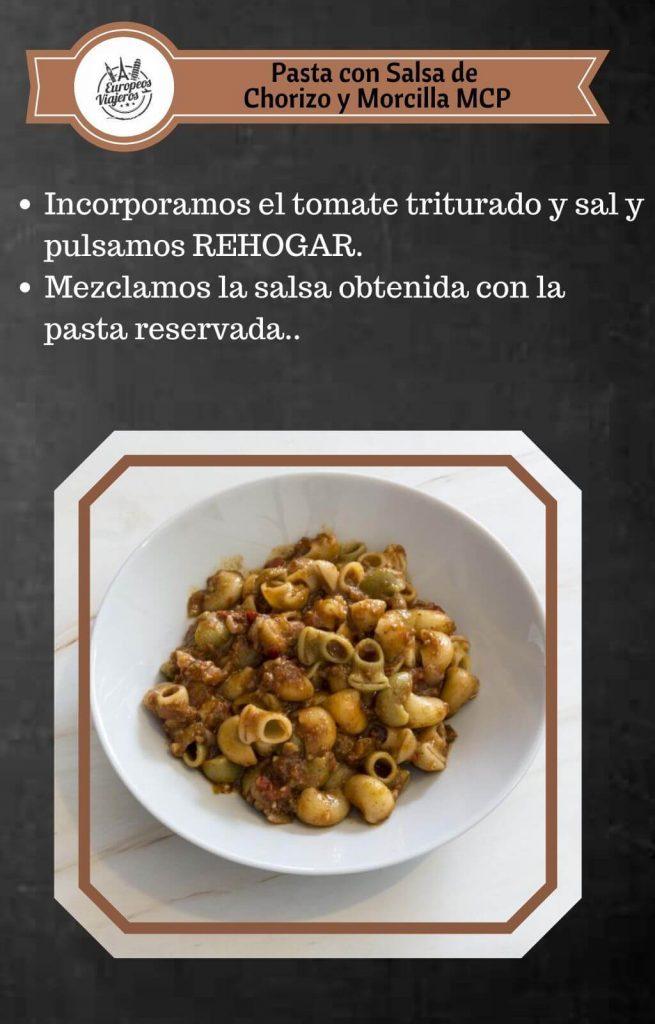 Receta de Pasta con Salsa de Chorizo y Morcilla.