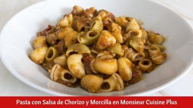 Receta de Pasta con Salsa de Chorizo y Morcilla en Monsieur Cuisine Plus