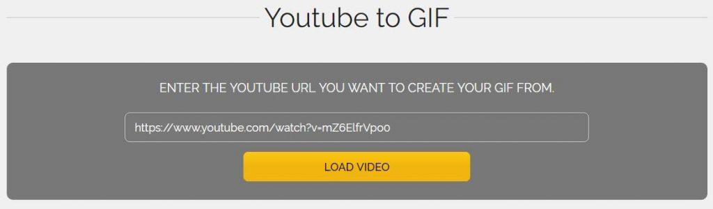 Cargar vídeo de Youtube para generar el gif