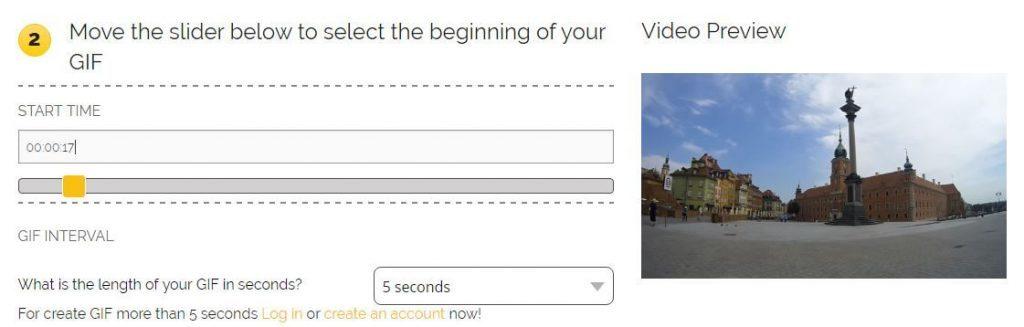 Opciones de configuración para crear el gif a partir de vídeo de Youtube