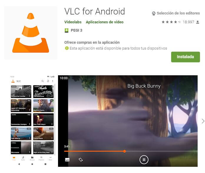 VCL Player, de los mejores reproductores de video android.