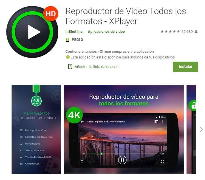 X Player, mejores reproductores de video android en cuanto a seguridad.