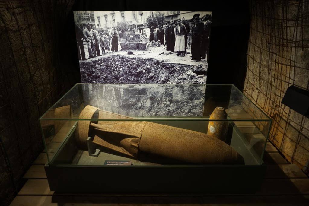 Bomba aérea en el Museo Refugio de la Guerra Civil de Cartagena
